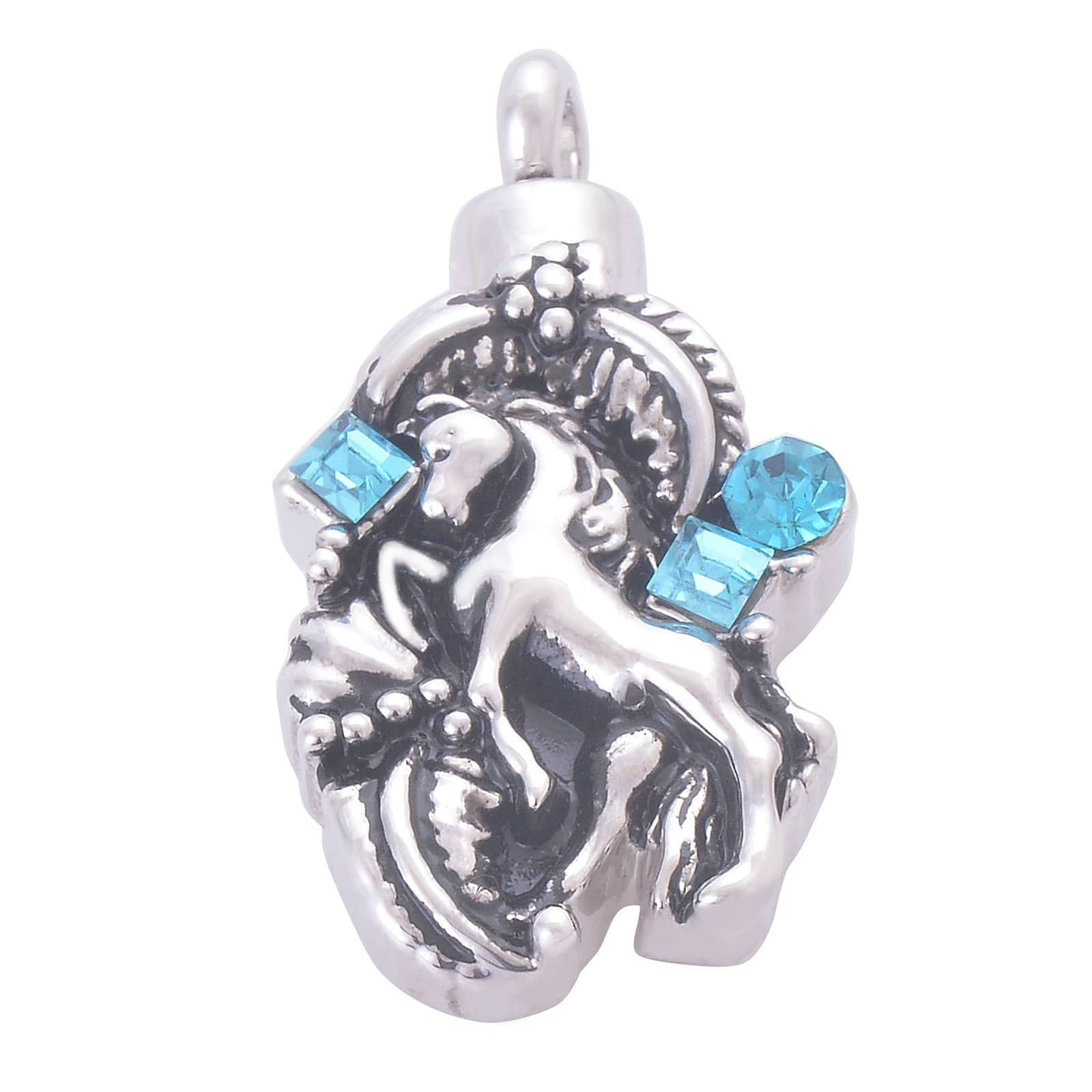 Urn Necklace Cremation Pendant Stainless Steel Cubic Zirconia Horse Silver Engraved 1.9x3.5CM