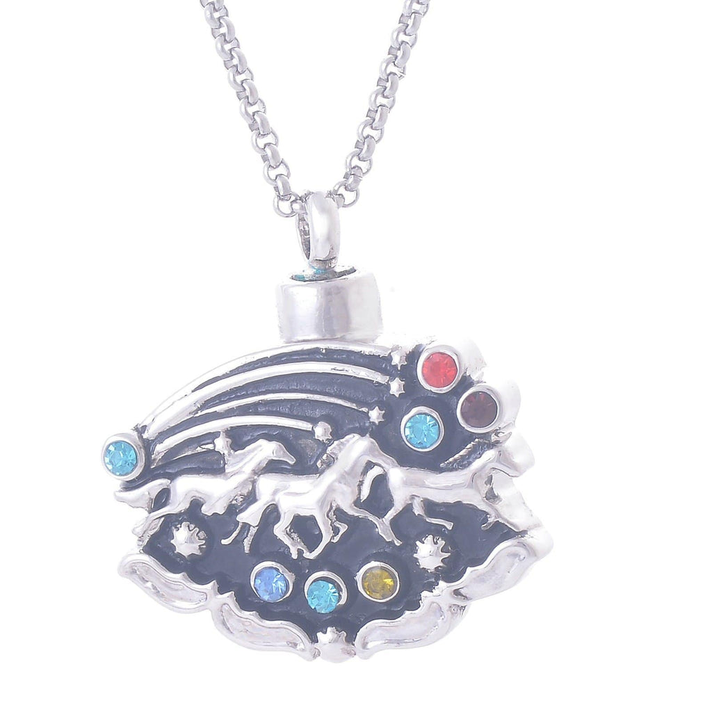 Urn Necklace Cremation Pendant Stainless Steel for Women Cubic Zirconia Horse Silver Engraved