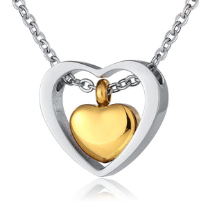Ashes Necklace Urn Pendant Women Stainless Steel Heart Silver