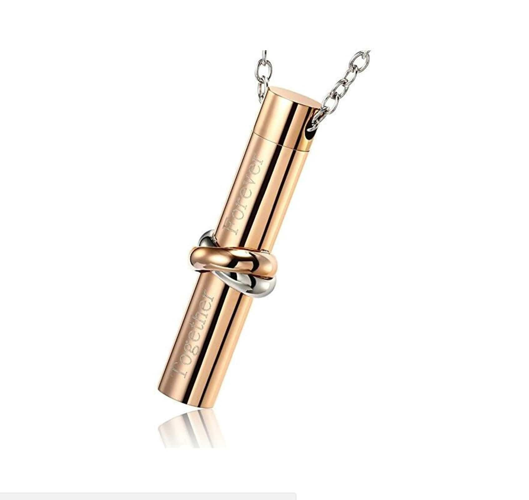 Ashes Pendant for Women Urn Necklace Stainless Steel Cross Perfume Bottle Gold