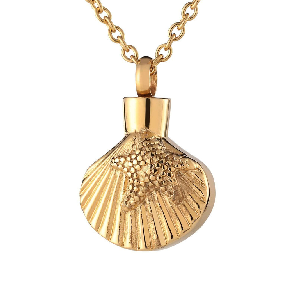 Ashes Pendant for Women Urn Necklace Stainless Steel Shell Gold