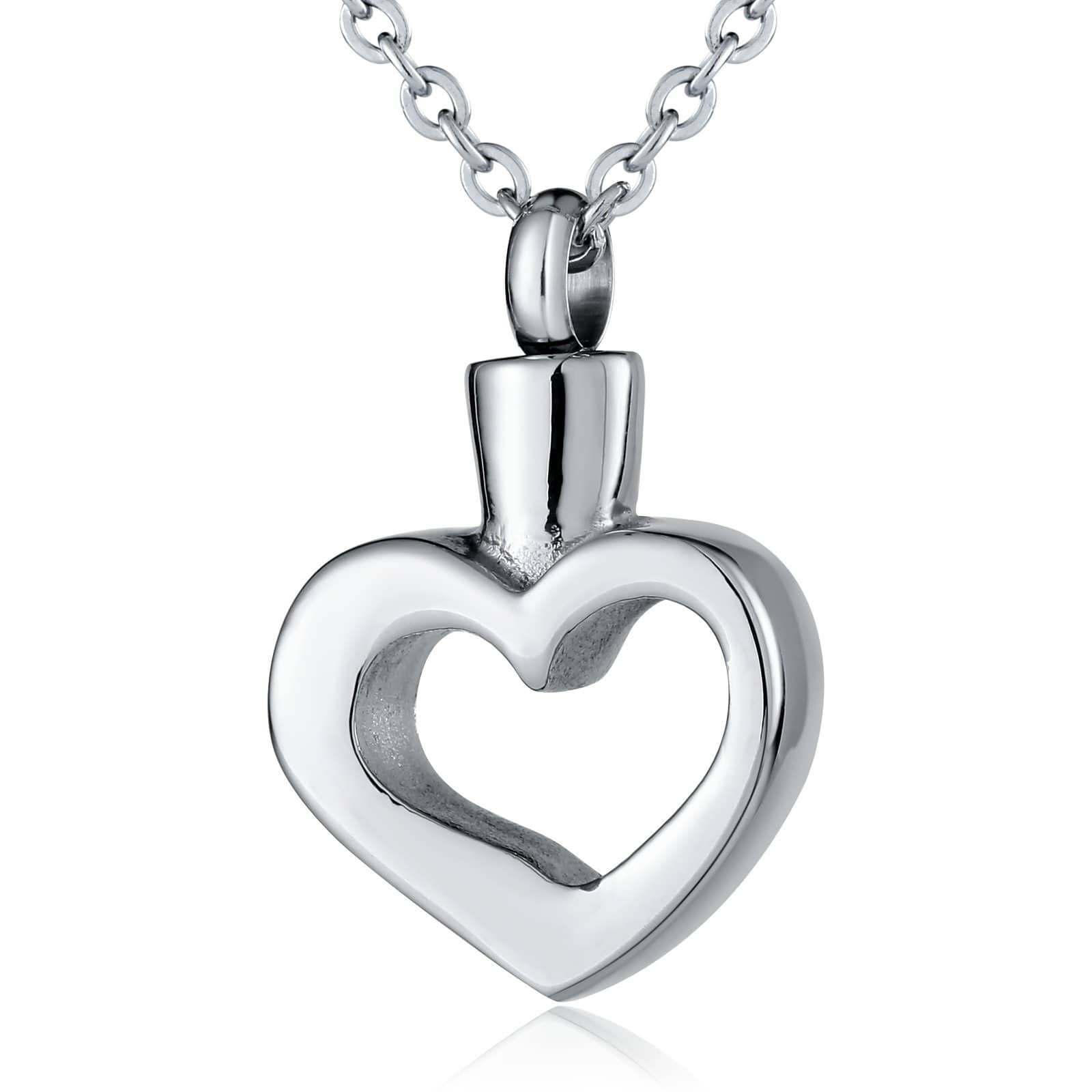 Ashes Pendant for Women Urn Necklace Stainless Steel Hollow Heart Polish