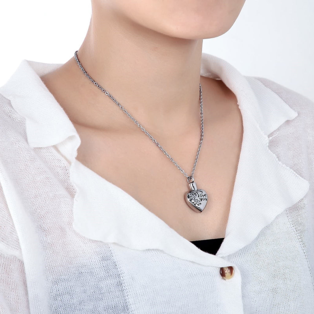 Urn Necklace Ashes Pendant for Women Stainless Steel Heart Pendant EngravedI Love You