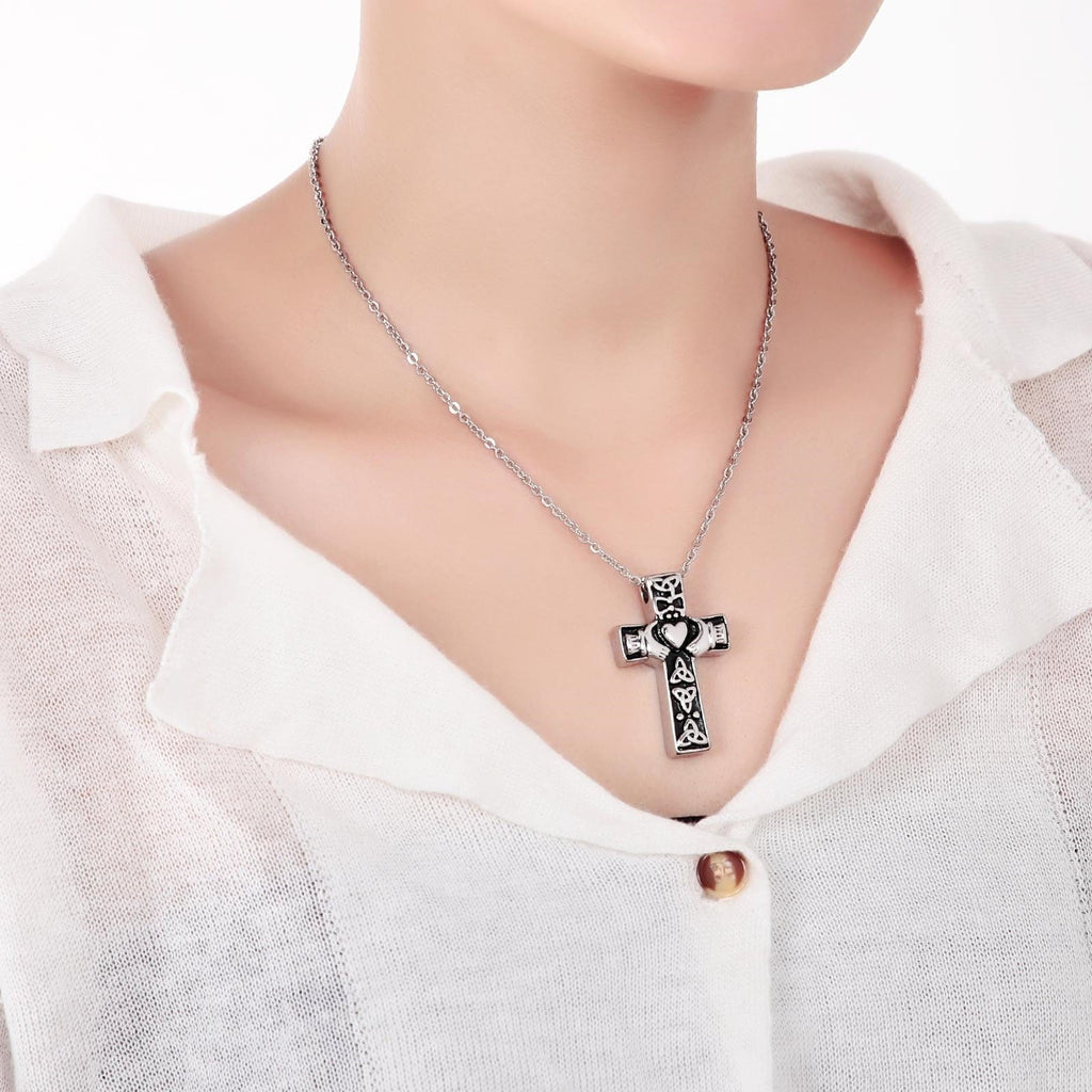 Ashes Necklace Urn Pendant Cremation Stainless Steel Cross Silver 4x2.5CM