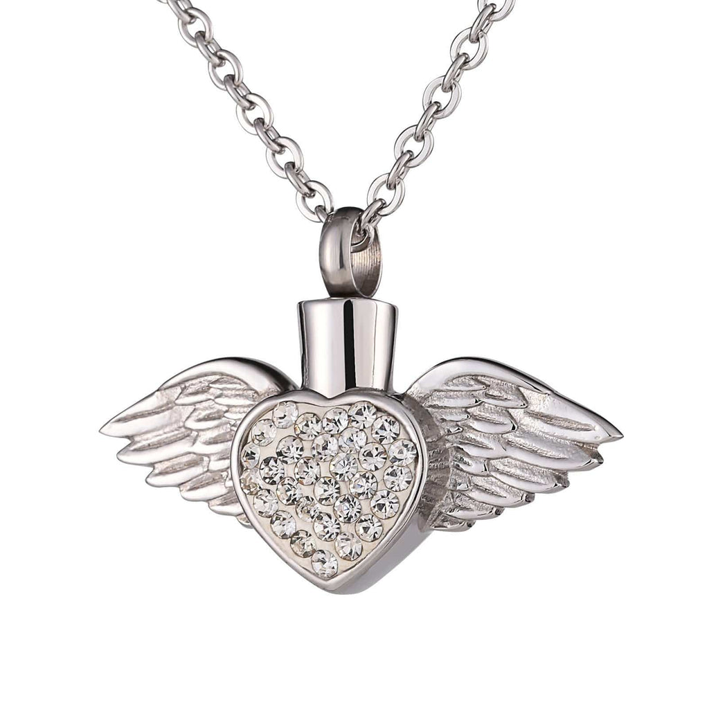 Ashes Necklace for Women Stainless Steel Angle Wings Heart Silver Engraved