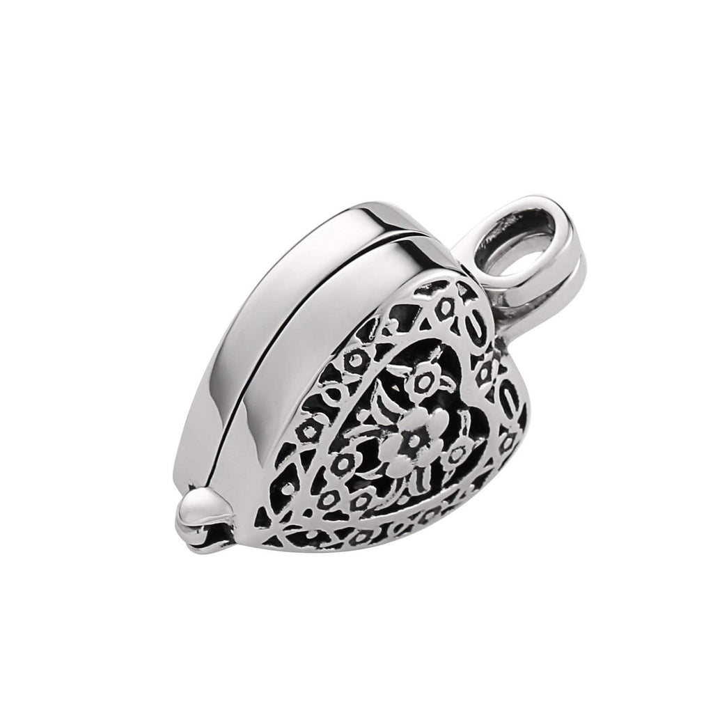 Urn Necklace Ashes Pendant for Women Stainless Steel Vintage Flower Heart Silver Engraved