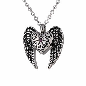 Ashes Pendant for Women Urn Necklace Stainless Steel Wing Heart Silver