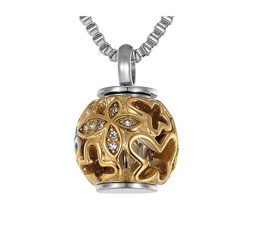 Ashes Pendant for Women Urn Necklace Stainless Steel Hollow Butterfly Gold