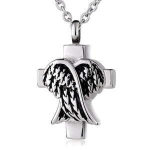 Ashes Pendant for Women Urn Necklace Stainless Steel Wings Cross Silver