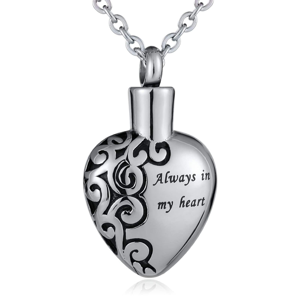 Urn Necklace for Women Stainless Steel Ashes Necklace Always In My Heart Silver