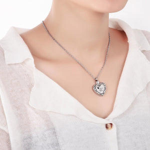 Ashes Necklace for Women Stainless Steel Paw Footprint Silver