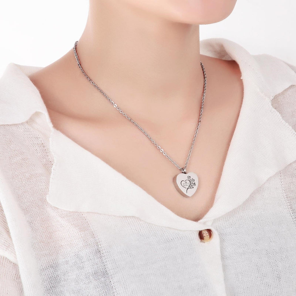 Ashes Necklace for Women Urn Pendant Stainless Steel Heart Silver