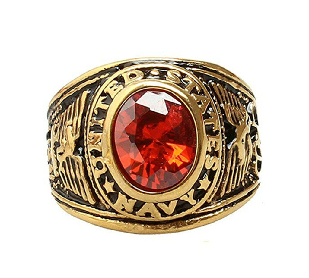 Red CZ Stainless Steel Gold Ring