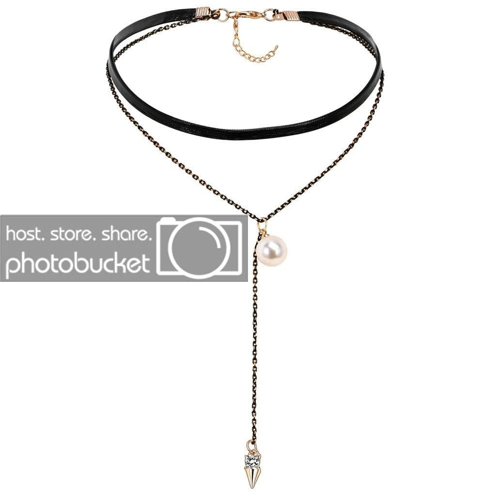 Choker Collar Black Choker Collar Leather Cord Black Gold Double Pearl Zirconia Cone - AnaDx
