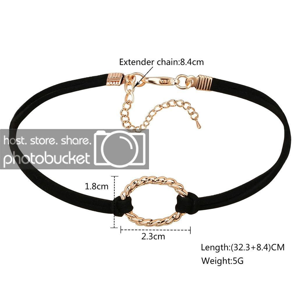 Lucky Layer Choker Choker Necklaces Velvet Jewelry Black Gold Hollow Oval - AnaDx