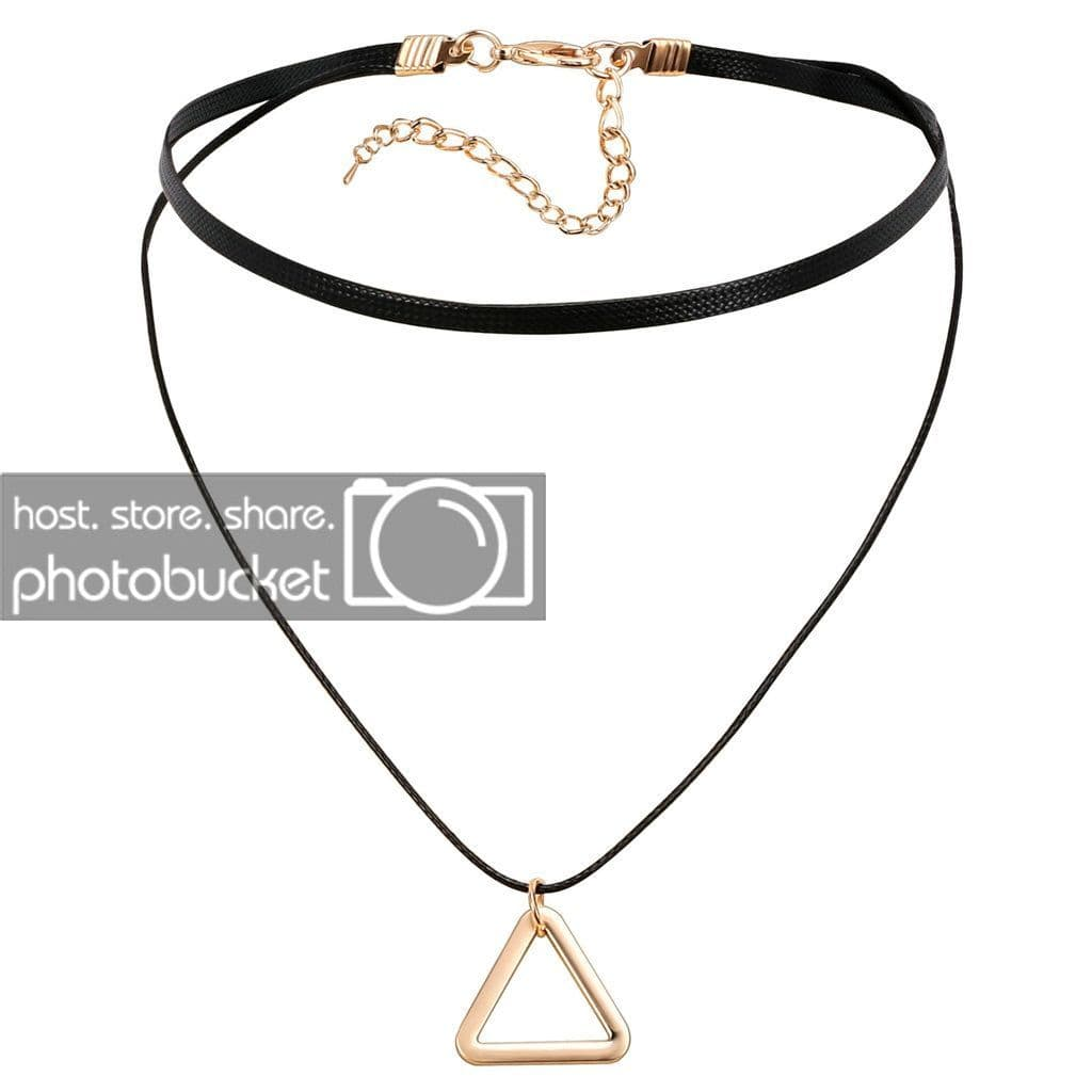 Black Choker Chain Chokers Jewelry Leather Cord Black Gold Double Hollow Triangle - AnaDx
