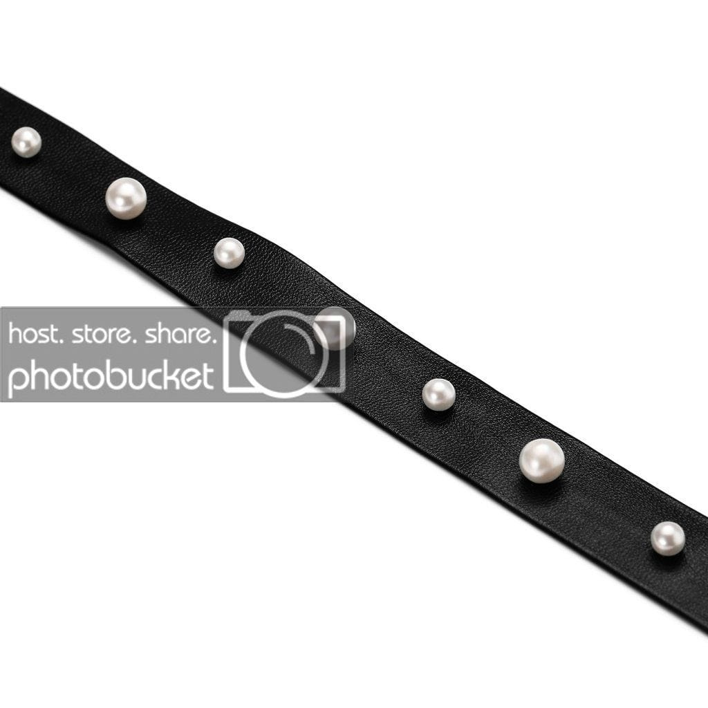 Double Layer Choker Necklace Chokers Leather Wide Leather Black Silver Inlay Pearls - AnaDx