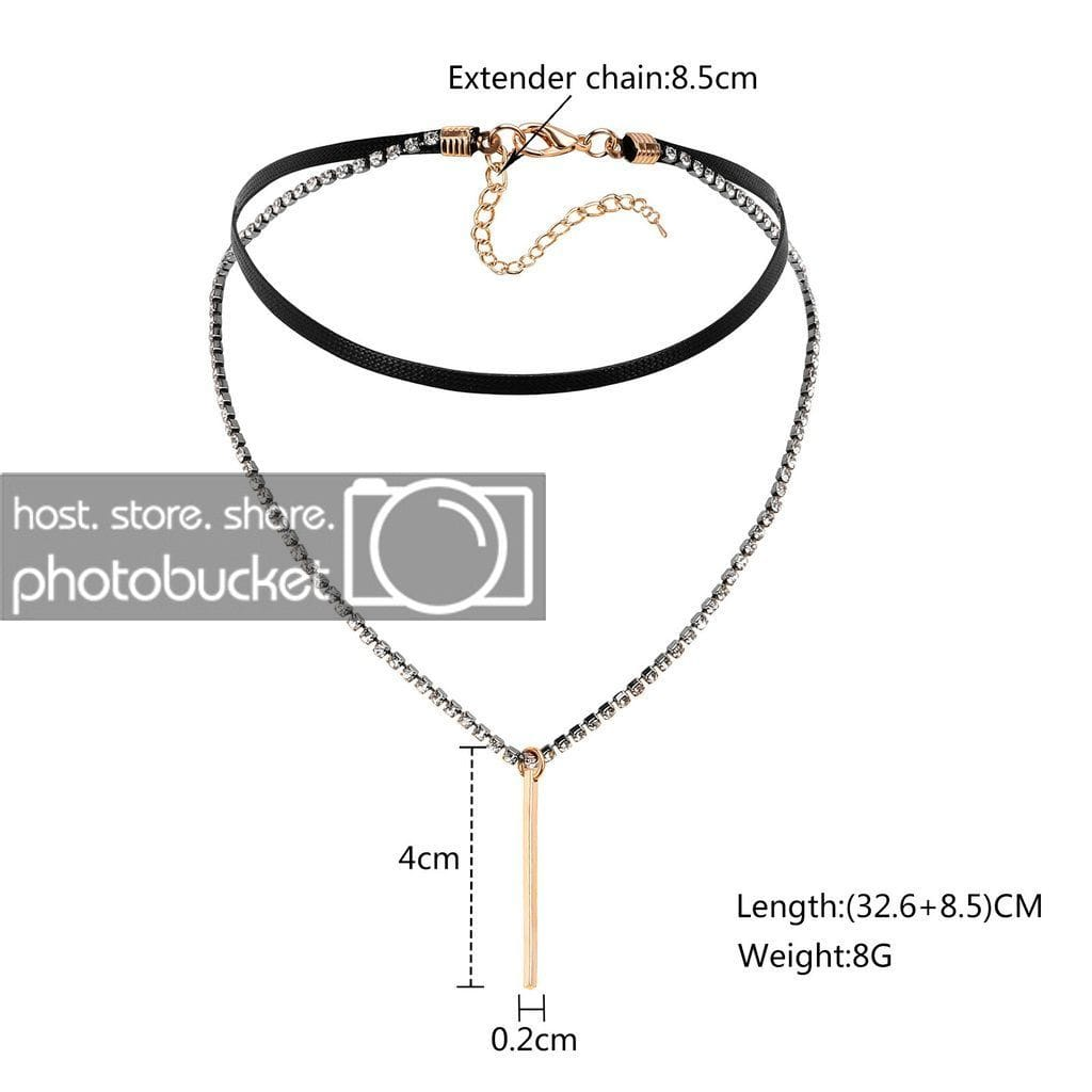 Black Choker With Pendant Chokers Black Leather Cord Black Silver Gold Double Zirconia Rectangular - AnaDx