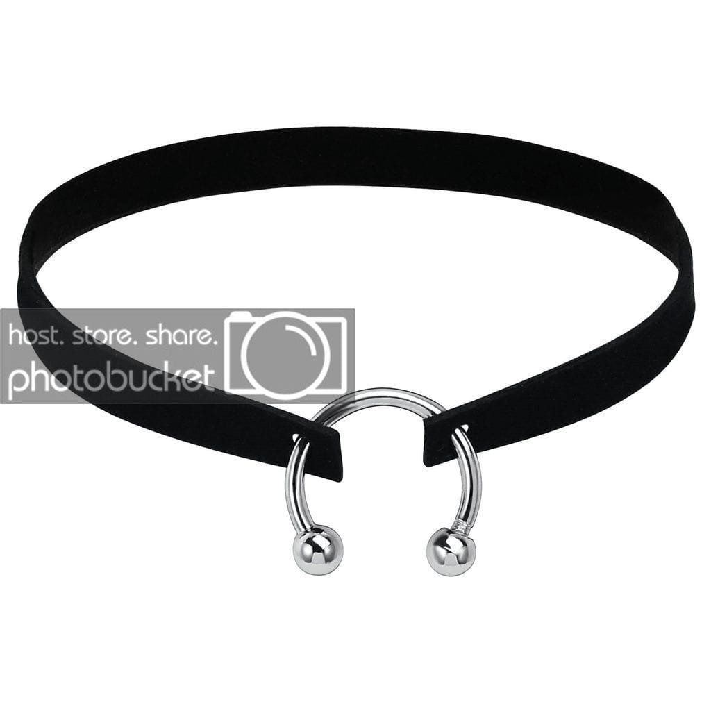 Womens Jewellery Choker Necklace Chokers Cute Velvet Black Silver U-shaped Charm - AnaDx