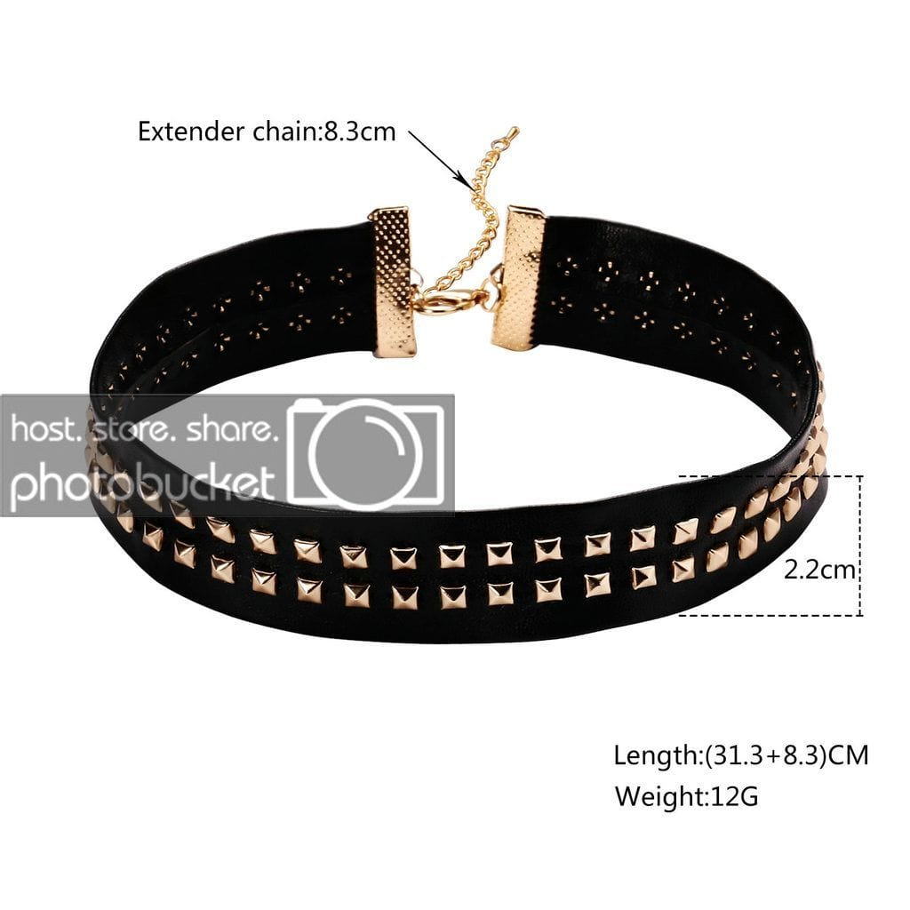 Double Layer Chain Choker Black Choker Diy Leather Punk Black Gold Double Lines Square Rivets Studded - AnaDx