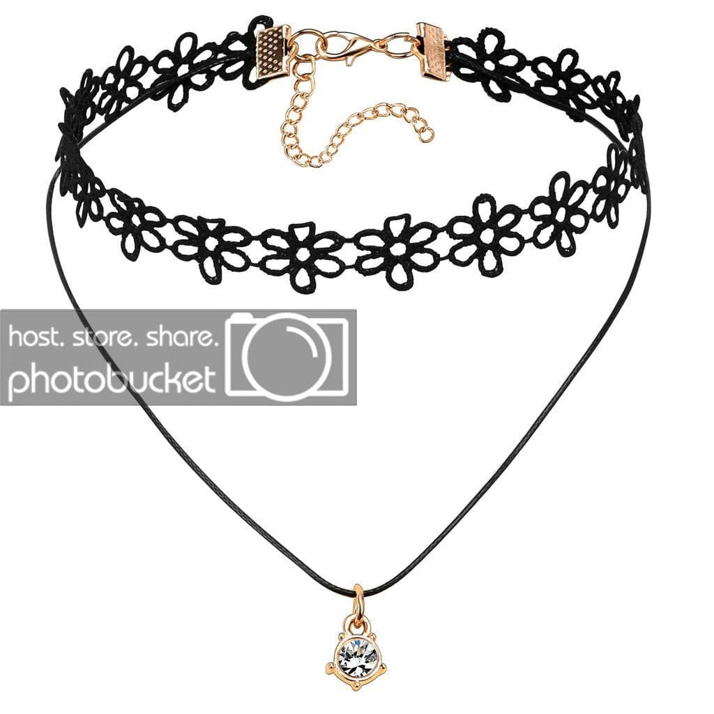 Black Choker With Pendant Chokers for Girls Vintage Black Gold Lace Flowers Lolita Tattoo Cubic Zirconia Gothic - AnaDx