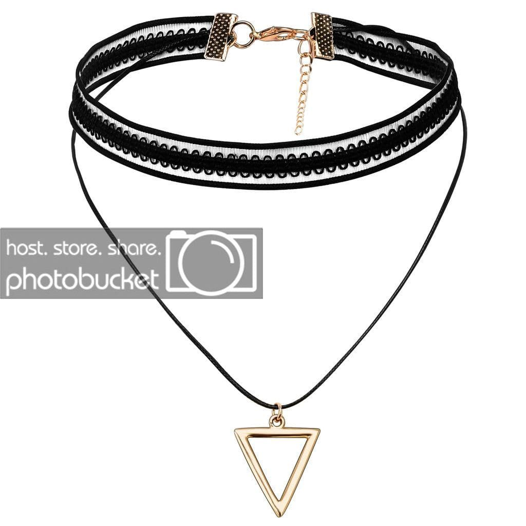 Chokers and Charms Choker Necklace Jewelry Black Gold Lace Triangle - AnaDx