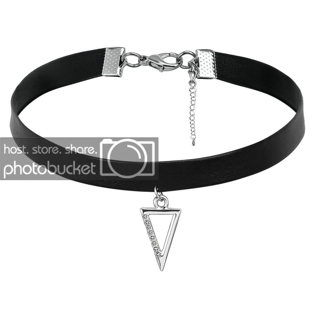 Lucky Layer Choker Womens Choker Top PU Leather Cord Black Silver Hollow Triangle Cubic Zirconia - AnaDx
