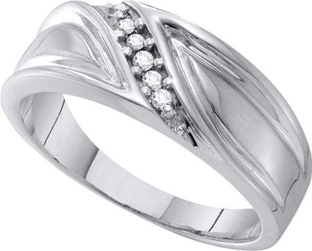 10KT White Gold 0.10CT DIAMOND FASHION MENS BAND