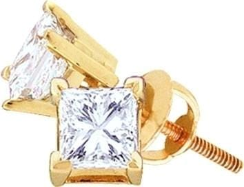 14KT Yellow Gold 1.00CTW DIAMOND PRINCESS STUDS (EXCELLENT): Earrings