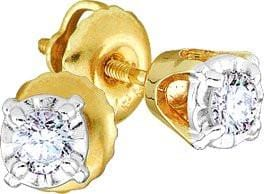 14KT Yellow Gold 0.10CTW ROUND DIAMOND LADIES FASHION EARRINGS (STUD): Earrings