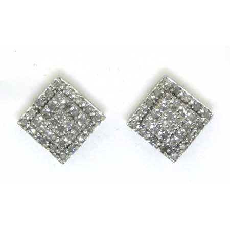 10KT White Gold 0.33CTW ROUND DIAMOND LADIES CLUSTER EARRINGS: Earrings