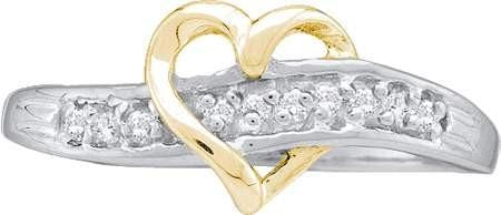 14KT White Gold 0.05CTW DIAMOND HEART RING