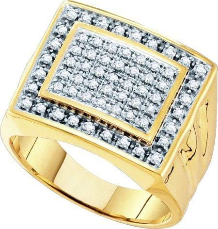 10KT Yellow Gold 0.50CTW DIAMOND  MENS CLUSTER  RING