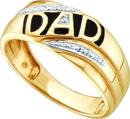 10KT Yellow Gold 0.005CTW DIAMOND MENS  DAD RING