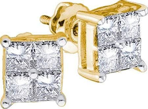 14KT Yellow Gold 0.25CTW DIAMOND LADIES  INVISIBLE EARRINGS: Earrings