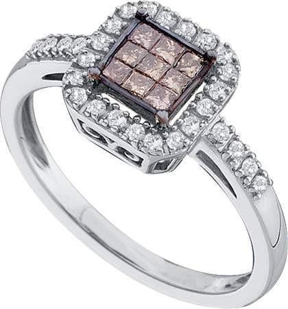 14KT White Gold 0.33CTW COGNAC DIAMOND LADIES INVISIBLE RING