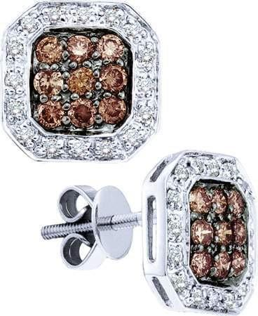 14KT White Gold 0.77CTW WHITE AND BROWN ROUND COGNAC DIAMOND LADIES FASHION EARRINGS: Earrings