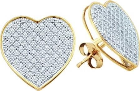 10KT Yellow Gold 0.33CTW DIAMOND HEART EARRINGS: Earrings