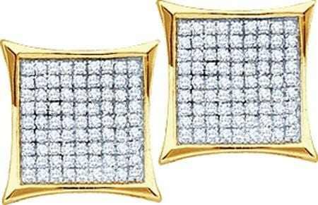 10KT Yellow Gold 0.33CTW DIAMOND LADIES MICROPAVE EARRINGS: Earrings