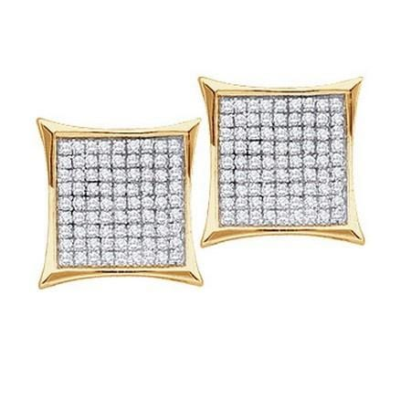 10KT Yellow Gold 0.45CTW ROUND DIAMOND LADIES MICRO-PAVE FASHION EARRINGS: Earrings
