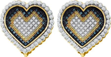 10KT Yellow Gold 1.00CTW DIAMOND  MICRO PAVE HEART EARRING: Earrings