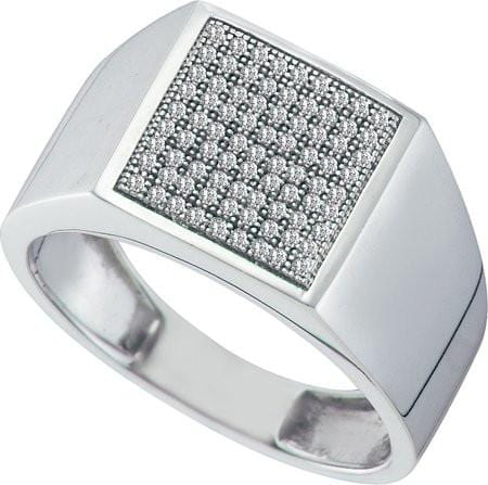 10KT White Gold 0.25CTW DIAMOND  MICRO PAVE MENS RING