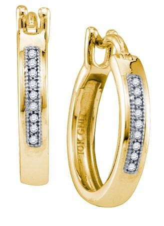10KT Yellow Gold 0.06CTW DIAMOND  MICRO PAVE HOOPS: Earrings
