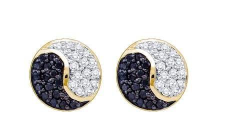 10KT Yellow Gold 0.36CTW BLACK  DIAMOND FASHION EARRING: Earrings