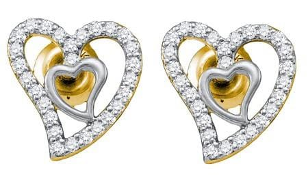 10KT Yellow Gold 0.23CTW DIAMOND  HEART EARRING: Earrings