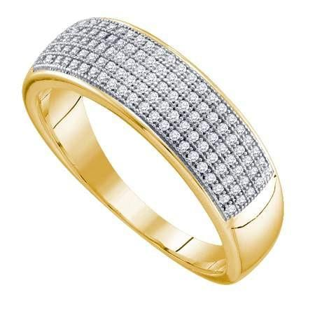 10KT Yellow Gold 0.33CTW DIAMOND MICRO PAVE MENS BAND