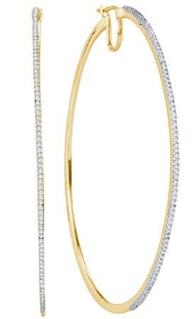 10KT Yellow Gold 0.75CTW DIAMOND MICRO-PAVE HOOPS: Earrings