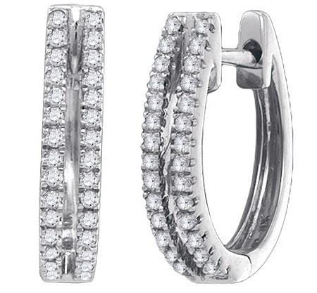 10KT White Gold 0.21CTW-DIA HOOPS EARRING: Earrings