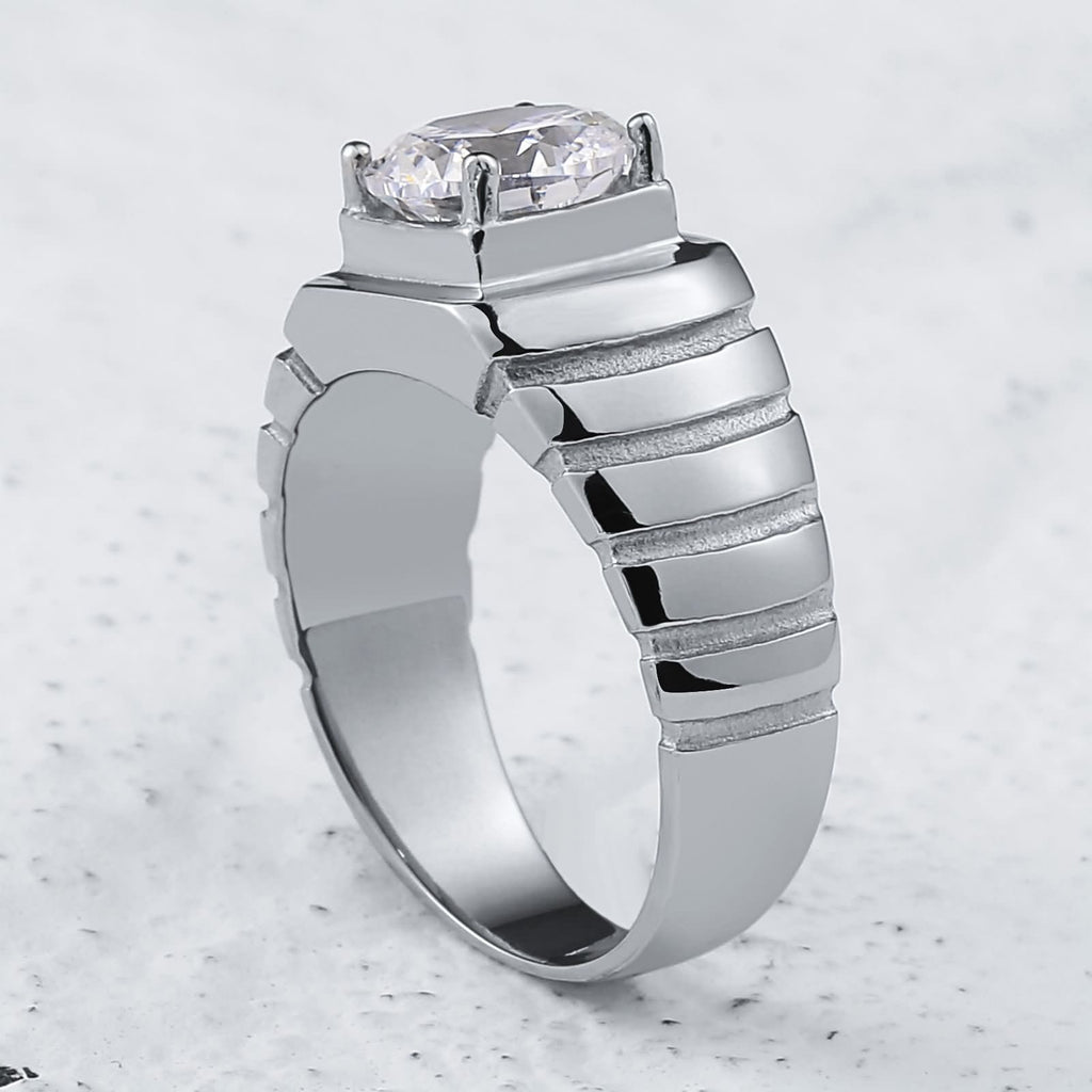 Stainless Steel Mens Rings Comfort Fit Polished Cz 10MM Silver Size 7-12