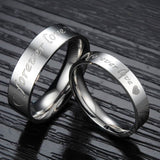 Stainless Steel Anniversary Ring for Couple Forever Love Silver